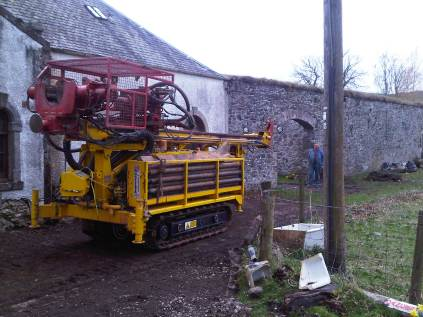The drilling rig makes its way towards the walled garden