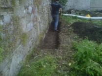 Tony digging drains...