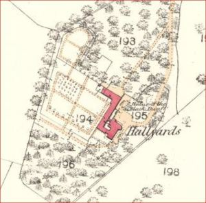 1856 OS Map - Hallyards - Gardens