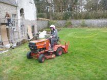 Meg on tractor - pink helmet - 05052013