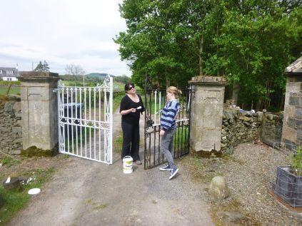 Meg & Aisling painting more gates - 18052014