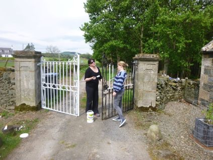 Meg & Aisling painting more gates - 18052014