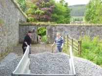 Meg & Aisling spreading gravel - 18052014