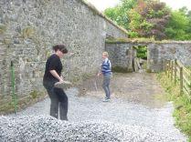 Meg & Aisling spreading gravel 2 - 18052014
