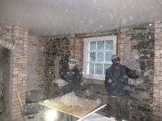 Plasterers in kitchen - 16112015
