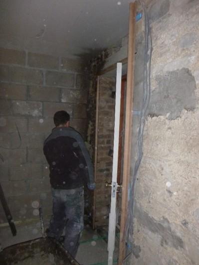Tony doing base coat in hall - 05112015