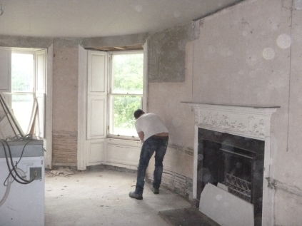Lime plastering 1- round room - 13072016