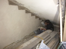 Lime plastering 13 - under stairs - 14072016