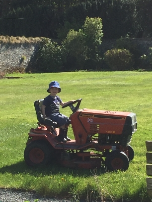Caleb cutting grass - 05052017